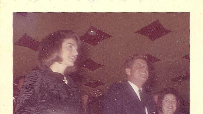 This image provided by Alexander Arroyos, taken on Nov. 21, 1963, shows President John F. Kennedy and first lady Jacqueline Kennedy greeting Latino activists at a LULAC gala in Houston's Rice Hotel. Historians say Kennedy's appearance at the Rice Ballroom _ 49 years ago this week and the night before his assassination _ was likely the first time a U.S. president officially acknowledged Latinos as an important voting block.  (AP Photo/Courtesy of Alexander Arroyos)