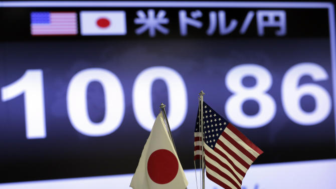 A screen indicates the current exchange rate of the U.S. dollar against Japanese yen behind the both countries' flags at a foreign exchange company in Tokyo, Friday,  May 10, 2013.(AP Photo/Itsuo Inouye)