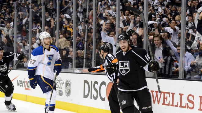 Mike Richards #10 Of The Los Angeles Kings Celebrates His Second Period Power Play Goal As Alex Pietrangelo #27 Of Getty Images