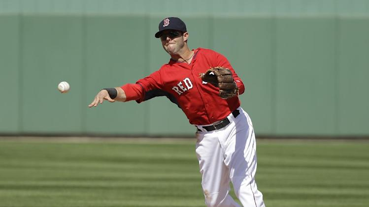 Boston Red Sox second baseman Dustin Pedroia throws to first base to retire Atlanta Braves' Tommy La Stella in the fifth inning of an exhibition baseball game Friday, March 7, 2014, in Fort, Myers, Fla