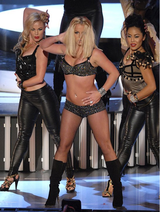 "Singer Britney Spears performs ""Gimme More"" at the 2007 Video Music Awards at the Palms Casino Resort."