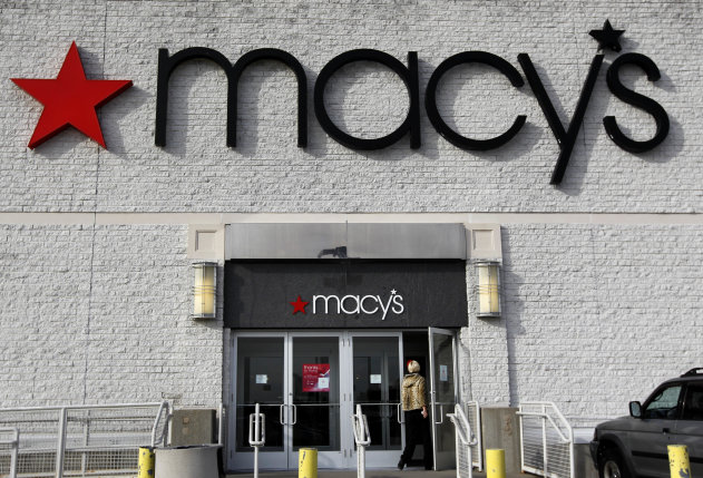 FILE - In this Nov. 3, 2011, file photo, a person enters a Macy&#39;s department store in North Attleboro, Mass. Macy&#39;s Inc. said Wednesday, May 9, 2012, that its net income rose to $181 million, or 43 cents per share, for the three-month period ended April 28. (AP Photo/Steven Senne, File)