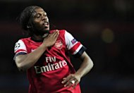 Arsenal's Gervinho celebrates scoring the opening goal against Olympiakos FC during their UEFA Champions League Group B match at the Emirates Stadium in London. Arsenal won 3-1