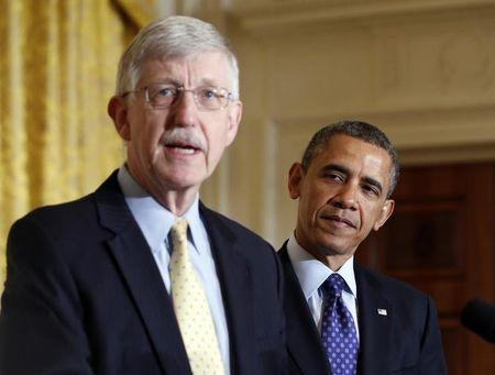 Obama is introduced by Francis Collins before his announcement of his administration's BRAIN initiative at the White House in Washington