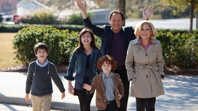 "This undated publicity photo released by Twentieth Century Fox and Walden Media shows Billy Crystal as Artie and Bette Midler as Diane, who agree to babysit their three grandkids, from left, Joshua Rush as Turner, Bailee Madison as Harper and Kyle Harrison Breitkopf as Barker in a scene from the film, ""Parental Guidance.""  (AP Photo/Twentieth Century Fox/Walden Media, Kerry Hayes)"