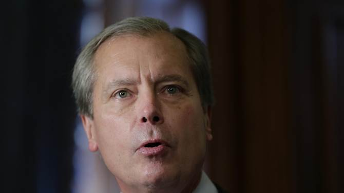 In this May 28, 2013 file photo, Lt. Gov. David Dewhurst speaks during the signing of a water fund bill, in Austin, Texas. Now that the governor has called a special session, Dewhurst will get a chance to resurrect the anti-abortion legislation bill that failed earlier this week, but maybe not his political career. (AP Photo/Eric Gay)