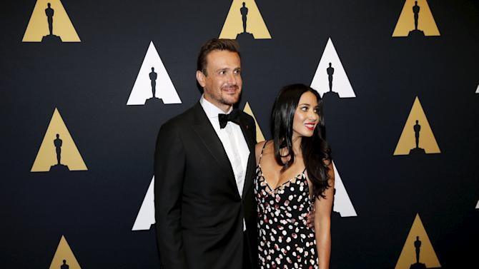 Actors Jason Segel and Olivia Munn arrive at the Scientific and Technical Awards Ceremony at the Beverly Wilshire Hotel in Beverly Hills, California