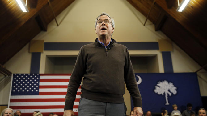 Republican presidential candidate, former Florida Gov. Jeb Bush during speak a campaign stop Thursday, Feb. 11, 2016, at University of South Carolina campus at Sumter, S.C. (AP Photo/Matt Rourke)