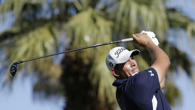 Scott Stallings hits off the eighth tee during the final round of the Humana Challenge PGA golf tournament on the Palmer Private Course at PGA West Sunday, Jan. 20, 2013, in La Quinta, Calif. (AP Photo/Ben Margot)