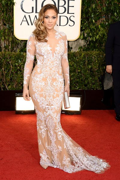 Jennifer Lopez: This is the nude dress done right! JLo rocks a sheer look with delicate white embroidery that screams sexy chic. But what we really want to see is whether the former fiance of Ben Affl