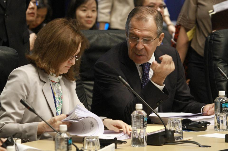 Russian Foreign Affairs Minister Sergei Lavrov, right, talks with his country's Economic Minister Elivra Nabiullina during an APEC ministerial meeting at the Asia-Pacific Economic Cooperation summit Friday, Nov. 11, 2011, in Honolulu.  (AP Photo/J. David Ake)