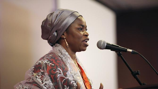 """Miriam Yakubu Ikunaiye, founder of the newly launched anti-corruption group """"Buharian Culture Organization"""", speaks at their first summit in Abuja"""