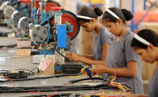 <p>Photo illustration shows women working in a factory in India. India's factory sector expanded in June to a four-month high, a key survey showed on Monday, indicating an improvement in business conditions despite widespread concern over the nation's economy.</p>