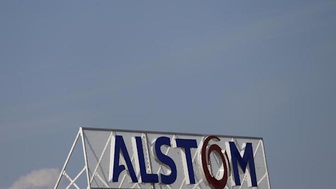 The logo of French power and transport engineering company Alstom is pictured on the roof of the company's plant in Reichshoffen