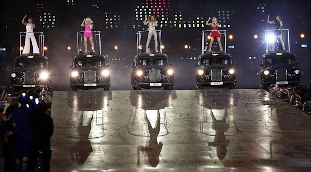 The Spice Girls perform during the Closing Ceremony at the 2012 Summer Olympics, Sunday, Aug. 12, 2012, in London. (AP Photo/Charlie Riedel)