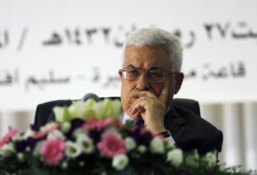 Palestinian President Mahmoud Abbas attends an event to mark Laylat al-Qadr in the West Bank city of Ramallah