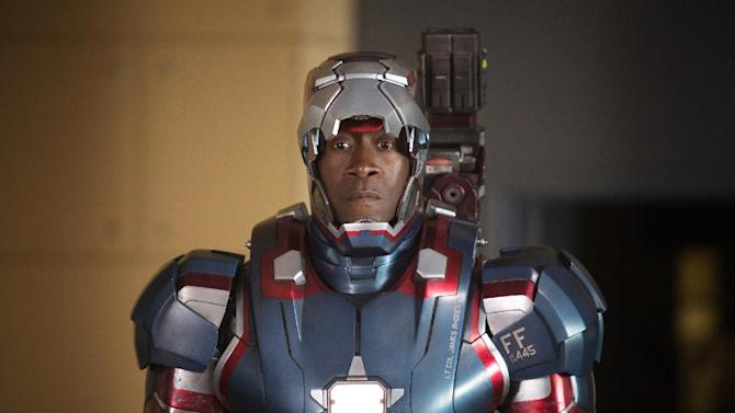 """This film publicity image released by Disney-Marvel Studios shows Don Cheadle as James Rhodes in a scene from """"Iron Man 3.""""  (AP Photo/Disney, Marvel Studios, Zade Rosenthal)"""