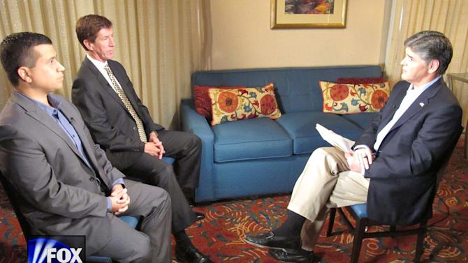 "In this photo provided by the Fox News Channel, Fox News Channel host Sean Hannity, right, interviews George Zimmerman, left, and his attorney Mark O'Mara, Wednesday, July 18, 2012 at an undisclosed Florida location. Zimmerman has been charged with second degree murder for the Feb. 26, 2012 shooting death of Florida teenager Trayvon Martin. He is claiming self-defense under Florida's ""Stand Your Ground"" law. The telecast airs Wednesday at 9 p.m. on the Fox News Channel. (AP Photo/Fox News Channel)"
