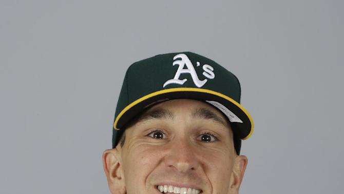 This is a 2015 photo of Patrick Venditte of the Oakland Athletics baseball team. This image reflects the Athletics active roster as of Feb. 28, 2015, when this image was taken. (AP Photo/Darron Cummings)