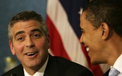 George Clooney and President Obama (Reuters)