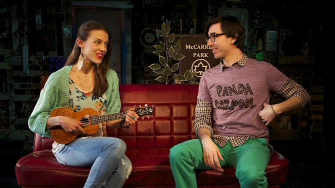 """This March 21, 2013 theater image released by Springer Associates PR shows, Katherine Cozumel, left, and Max Crumm during a performance of """"F#%king Up Everything,"""" in New York. (AP Photo/Springer Associates PR, T Charles Erickson)"""