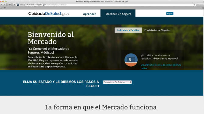 This screenshot made Nov. 26, 2013, shows the Department of Health and Human Services' web page for the Spanish language version HealthCare.gov. The nation's largest minority group risks being left behind by President Barack Obama's health care overhaul. Hispanics account for about one-third of the nation's uninsured, but all signs indicate that they remain largely on the sidelines as the White House races to meet a goal of 6 million sign-ups by March 31. (AP Photo/U.S. Department of Health and Human Services)