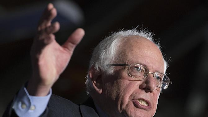 In this Feb. 9, 2016, photo, Democratic presidential candidate Sen. Bernie Sanders, I-Vt., speaks during a primary night watch party at Concord High School in Concord, N.H.  Sanders is giving Hillary Clinton a run for her money, $27 at a time. The insurgent Democratic presidential candidate's success with low-dollar online fundraising perfectly complements his denouncement of big money in politics. He's making big money, all right, but in little increments from average people.(AP Photo/John Minchillo)