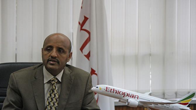 In this photo of Thursday Aug. 9, 2012, Ethiopian Airlines chief executive Tewolde Gebremariam says his company is excited to be the first carrier to take delivery of a Dreamliner in Africa, Europe and the Americas.  The Dreamliner is currently flown only by two Japanese carriers. Ethiopian Airlines next week takes delivery of Africa's first Boeing 787 Dreamliner, and the airline's chief executive says the plane will first be used on routes around the continent. (AP Photo/Elias Asmare)