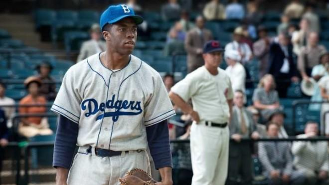 Chadwick Boseman stars as Jackie Robinson in the April release 42.