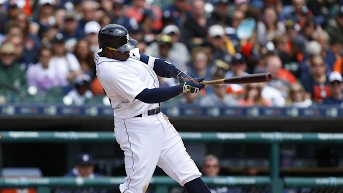 Detroit Tigers' Rajai Davis bats against the Cleveland Indians in the second inning of a baseball game in Detroit Sunday, April 26, 2015. (AP Photo/Paul Sancya)