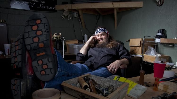 "Duck Dynasty,"" at his desk in his office at the Duck Commander"