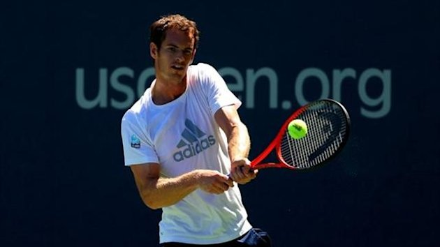 Andy Murray of Great Britain plays a backhand during a practice session ahead of the 2013 US Open at USTA Billie Jean King National Tennis Center on August 24, 2013 in New York City.