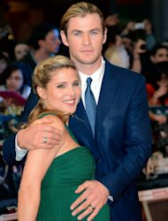 Elsa Pataky and Chris Hemsworth attend Marvel Avengers Assemble European Premiere at Vue Westfield in London on April 19, 2012  -- Getty Images