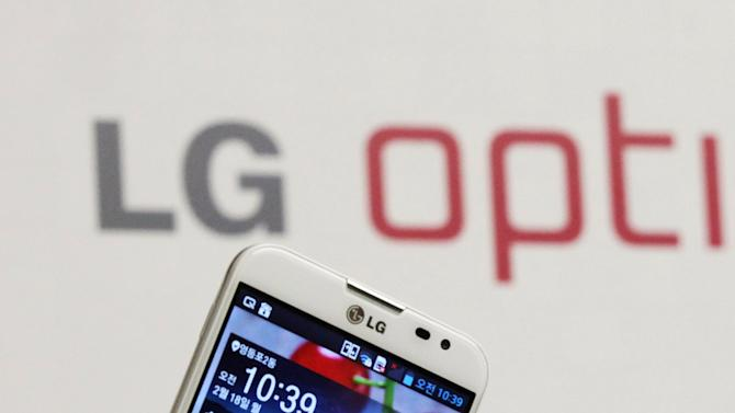 LG Electronics' new smartphone Optimus G Pro is unveiled during a press conference in Seoul, South Korea, Monday, Feb. 18, 2013. LG Electronics Inc. said its Optimus G Pro smartphone with a full high-definition screen will go on sale in South Korea this week and hit shelves in Japan in April.  (AP Photo/Ahn Young-joon)