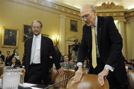 Erskine Bowles (L) and Alan Simpson (R), co-chairmen of the National Commission on Fiscal Responsibility and Reform, take their seats to testify before the U.S. Joint Select Committee on Deficit Reduction during a hearing on Capitol Hill in Washington, November 1, 2011. REUTERS/Jonathan Ernst