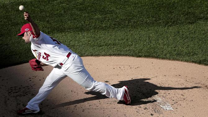 St. Louis Cardinals starting pitcher Christian Garcia throws during the first inning of Game 2 of the National League division baseball series against the Washington Nationals, Monday, Oct. 8, 2012, in St. Louis. (AP Photo/Charlie Riedel)