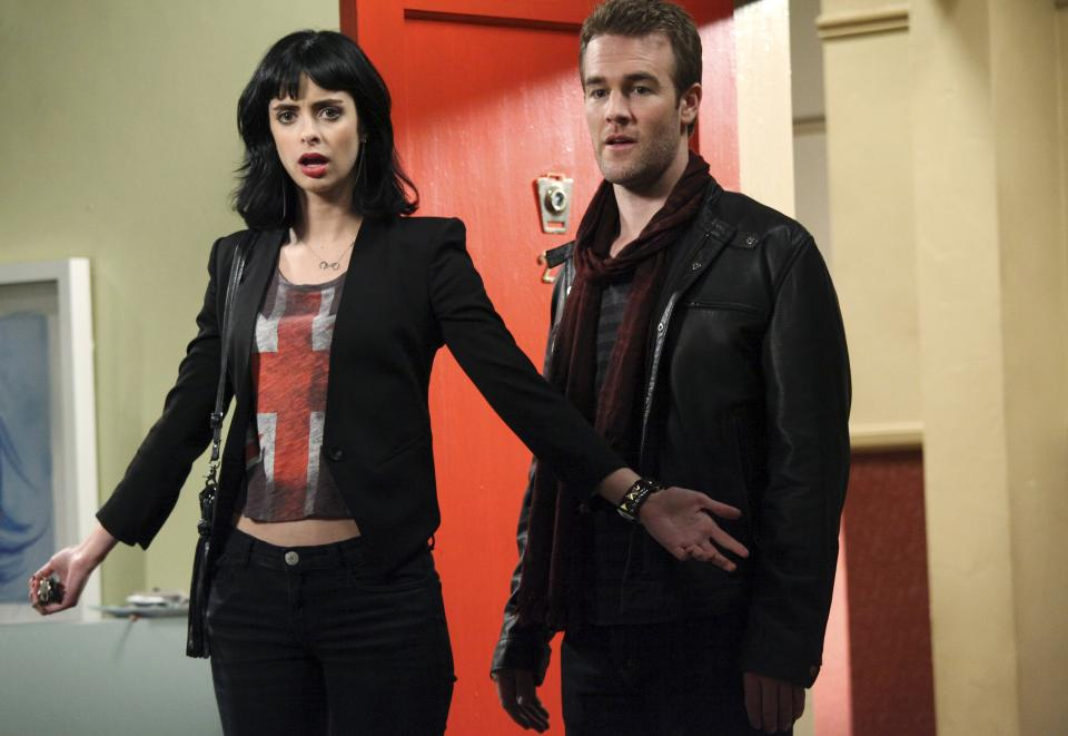 "In this undated image released by ABC, Krysten Ritter, left, and James Van Der Beek are shown in a scene from the new ABC comedy, ""Don't Trust the B--- in Apartment 23,"" premiering Wednesday, April 11, 2012 at 9:30 p.m. EST.  (AP Photo/ABC, Richard Cartwright)"