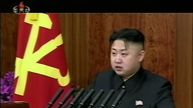 In this Tuesday, Jan. 1, 2013 image made from video, North Korean leader Kim Jong Un speaks on podium in Pyongyang, North Korea. Making his first New Year's speech, Kim called Tuesday for his country to focus on economic improvements with the same urgency that scientists put into the launch of a long-range rocket last month. (AP Photo/KRT via AP Video) TV OUT, NORTH KOREA OUT
