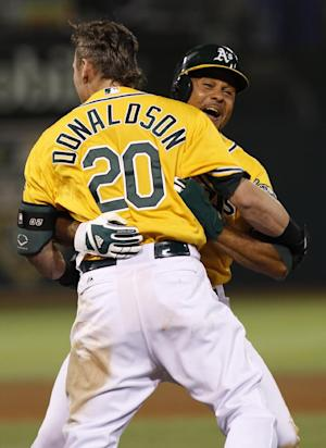 Donaldson single in 9th lifts A's to victory