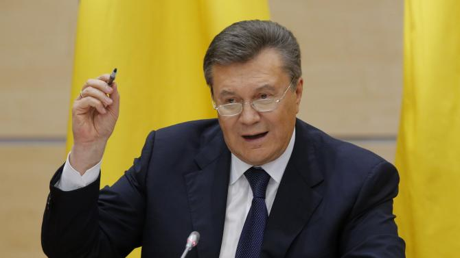 Ousted Ukrainian President Viktor Yanukovich takes part in a news conference in the southern Russian city of Rostov-on-Don