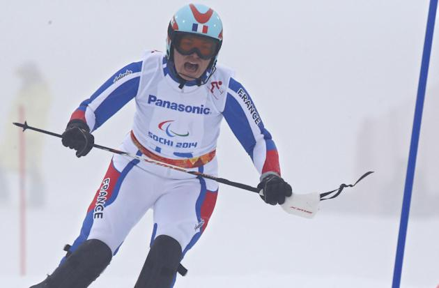 Solene Jambaque of France races during the women's super combined, slalom, standing event at the 2014 Winter Paralympic, Tuesday, March 11, 2014, in Krasnaya Polyana, Russia