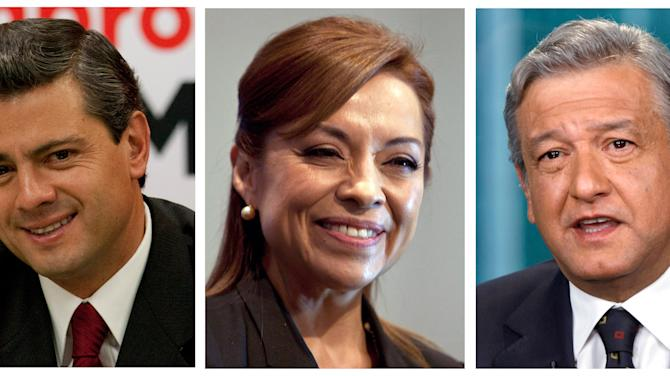 FILE - This combo picture of three file photos shows presidential candidates, from left, Enrique Pena Nieto of the Institutional Revolutionary Party, PRI, Josefina Vazquez Mota of the National Action Party, PAN, and Andres Manuel Lopez Obrador of the Democratic Revolutionary Party, PRD, during different events in Mexico City. Mexico's scheduling conflict between a presidential candidates' debate and a soccer quarterfinals match got ugly Tuesday, May 1, 2012.  It seems to have been turned into a grudge match, between whether Mexicans will tune in to watch politicos batting around ideas, or two of the nation's best teams playing soccer. Mexico will hold presidential elections on July 1, 2012.  (AP Photo, Files)