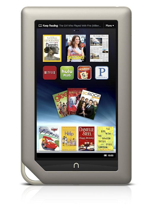 FILE - This file product image provided by Barnes & Noble Inc., shows the new $249 Nook Tablet, which was unveiled Monday, Nov. 7, 2011, in New York. Barnes & Noble Inc. and Microsoft Corp. are teamin