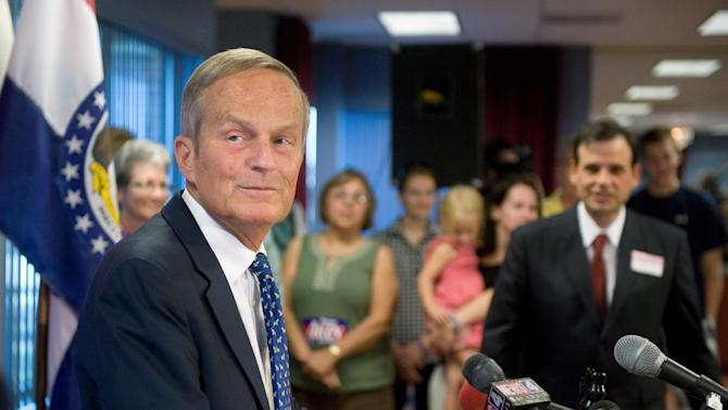 FILE - In this Aug. 24, 2012 file photo, U.S. Rep. Todd Akin, R-Mo., gives a news conference where he confirmed his plans to remain in Missouri's U.S. Senate race despite a political uproar over remarks he made about rape and pregnancy. In Missouri and Illinois, Republican candidates for the U.S. Senate lost races that their party initially expected to win after making widely criticized comments regarding abortion rights for impregnated rape victims. (AP Photo/Sid Hastings, File)