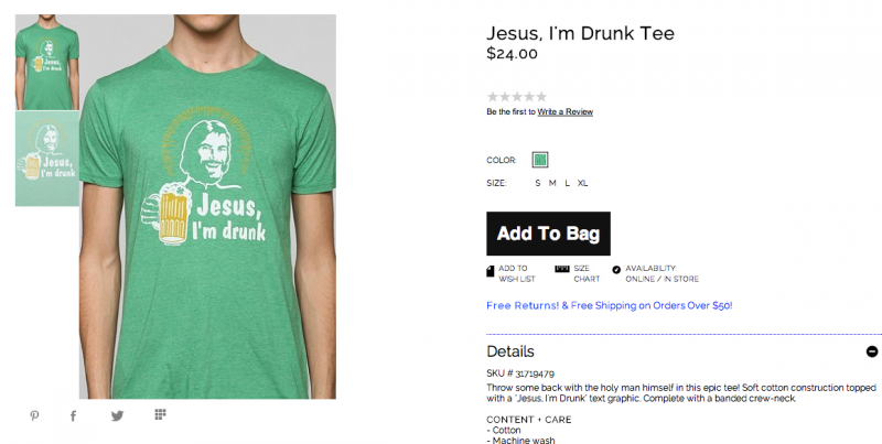 Urban Outiftters Jesus shirt