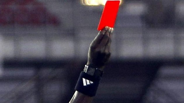 Referee shows red card, generic (Reuters)