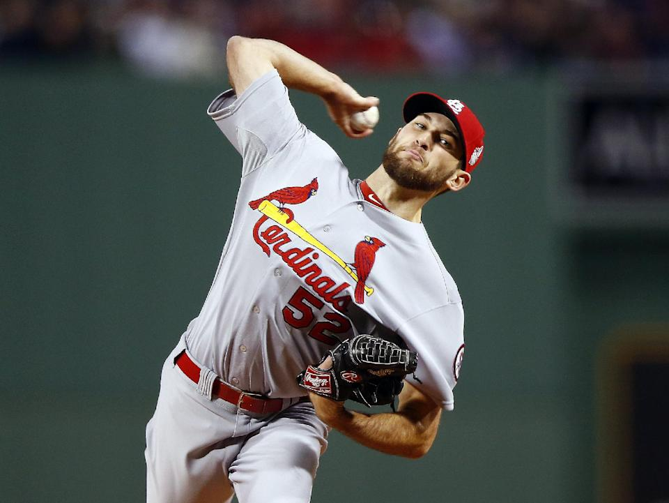 St. Louis Cardinals starting pitcher Michael Wacha throws during the first inning of Game 2 of baseball's World Series against the Boston Red Sox Thursday, Oct. 24, 2013, in Boston. (AP Photo/Jared Wickerham, Pool)