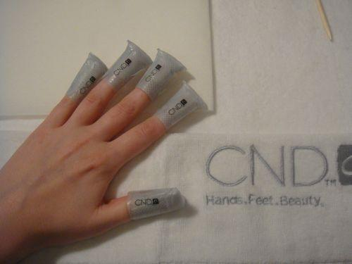 Time for removal! CND developed these Shellac remover wraps that are coated with acetone and wrap around the tips of your fingers like a sticker. They minimize nail contact with chemicals (yay!) and a