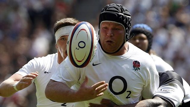 Matt Stevens plays for England against the Barbarians