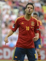 Spanish midfielder Cesc Fabregas reacts during the Euro 2012 championships football match Spain vs Italy on June 10, 2012 at the Gdansk Arena. AFP PHOTO / PIERRE-PHILIPPE MARCOU